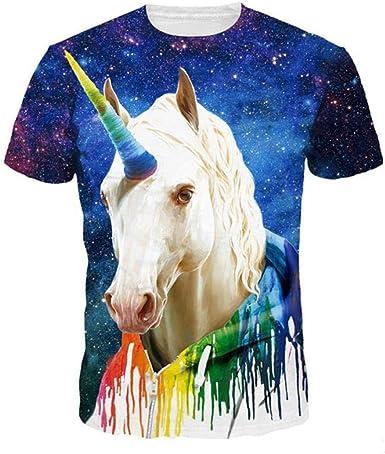 Galaxy Unicornio Camiseta 3D Hombres Mujeres Verano Camisetas Casuales Manga Corta Divertido Camisa Masculina tee Tops Dropship: Amazon.es: Ropa y accesorios