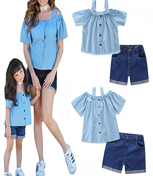 Family Matching Mommy And Me Off Shoulder Straps T Shirt Denim Shorts Outfits Size
