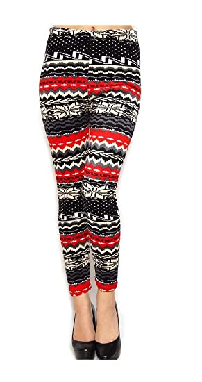 2a51ed407c9652 Women Elastic Fair Isle Velour Print Thick Fur lined Legging (S to M ...