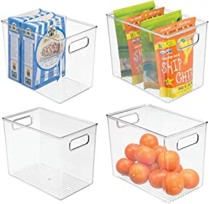 "mDesign Deep Plastic Food Storage Container Bin with Handles - for Kitchen, Pantry, Cabinet, Fridge/Freezer - Slim Organizer for Snacks, Produce, Pasta - 10"" x 6.5"" x 8"" - 4 Pack - Clear"