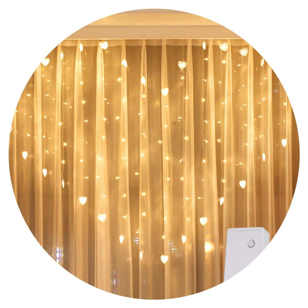 MMLsure® 124er Lampe LED à stalactite avec amour mariage chambre de décoration de glace, rideau lumineux de Noël Weiß