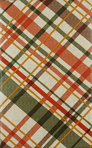 (Shades of Autumn Plaid Vinyl Flannel Back Tablecloth (70