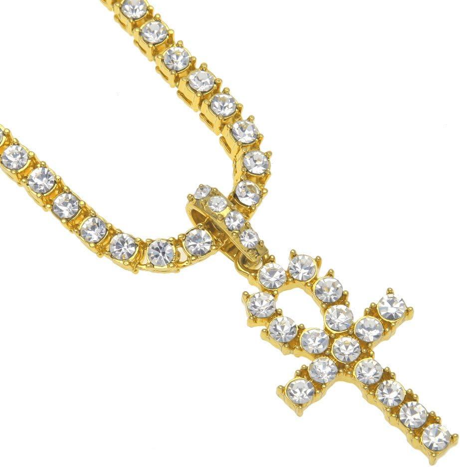 Collier avec pendentif en forme de cl/é dAnkh /égyptienne plaqu/é or et strass pour homme 18 inch