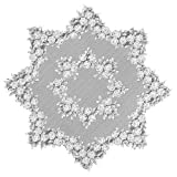 Heritage Lace Tea Rose 42-Inch Round Table Topper, White
