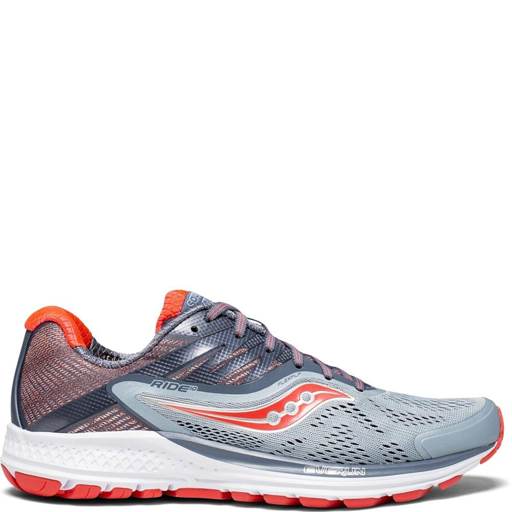 Saucony Women's Ride 10 Running Shoe, Fog/Red, 7.5 Medium US