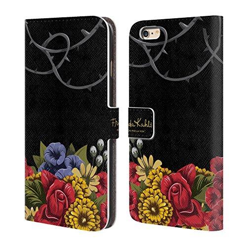 Officiel Frida Kahlo Efflorescence Florals Rouge Étui Coque De Livre En Cuir Pour Apple iPhone 6 Plus / 6s Plus