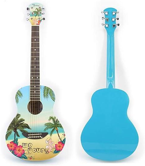 Guitarra acústica de madera de tilo con 6 cuerdas, 88,9 cm ...
