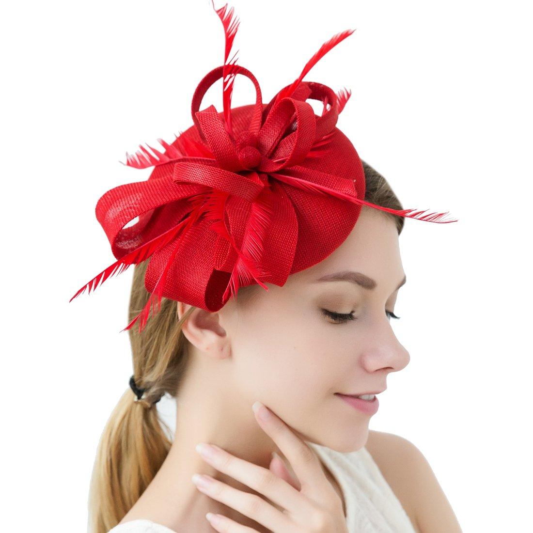 Women Elegant Fascinator Hat Bridal Feather Hair Clip Accessories Cocktail Royal Ascot