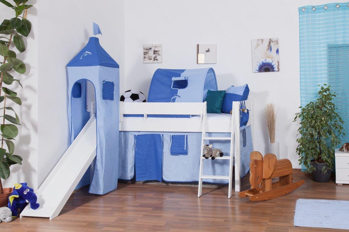 Kinderhochbett mit schräger rutsche  Hochbett Tom mit Rutsche und Turm inkl. Rollrost - Material: Buche ...
