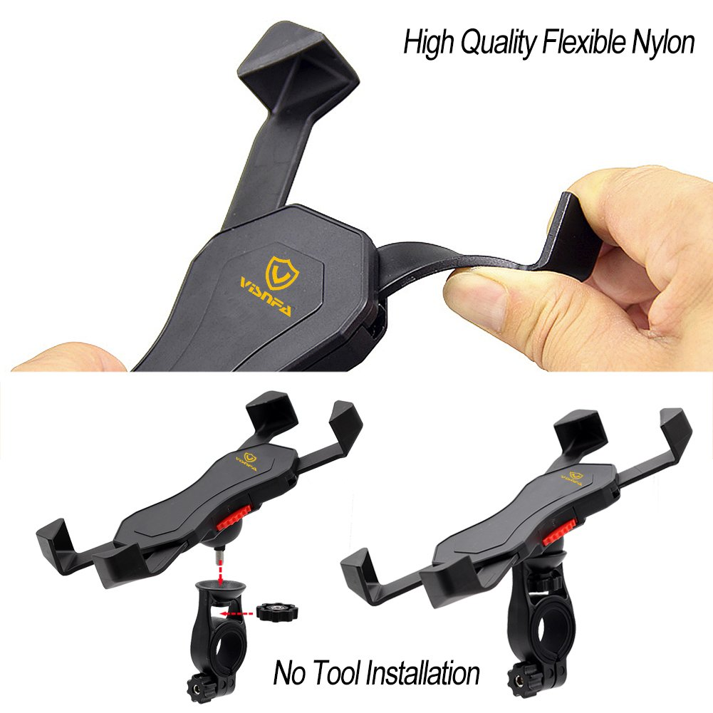 visnfa Bike Phone Mount Anti Shake and Stable Cradle Clamp with 360° Rotation Bicycle Phone mount/Bike Accessories/Bike Phone Holder for iPhone Android GPS Other Devices Between 3.5 to 6.5 inches by visnfa (Image #7)