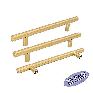 "Goldenwarm 25pcs Brushed Brass Kitchen Cabinet Hardware Handle 1/2"" Diameter T Bar Handles Furniture Gold Door Drawer Pulls Knobs Hole Spacing 160mm 6-1/4in"