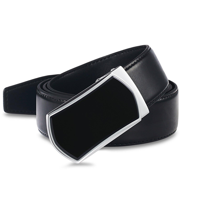 【New 2018 Version】Golf Belts for Men Black Leather with Removable Click Buckle Automatic Ratchet Belt Adjustable Dress Belt 1 3/8''