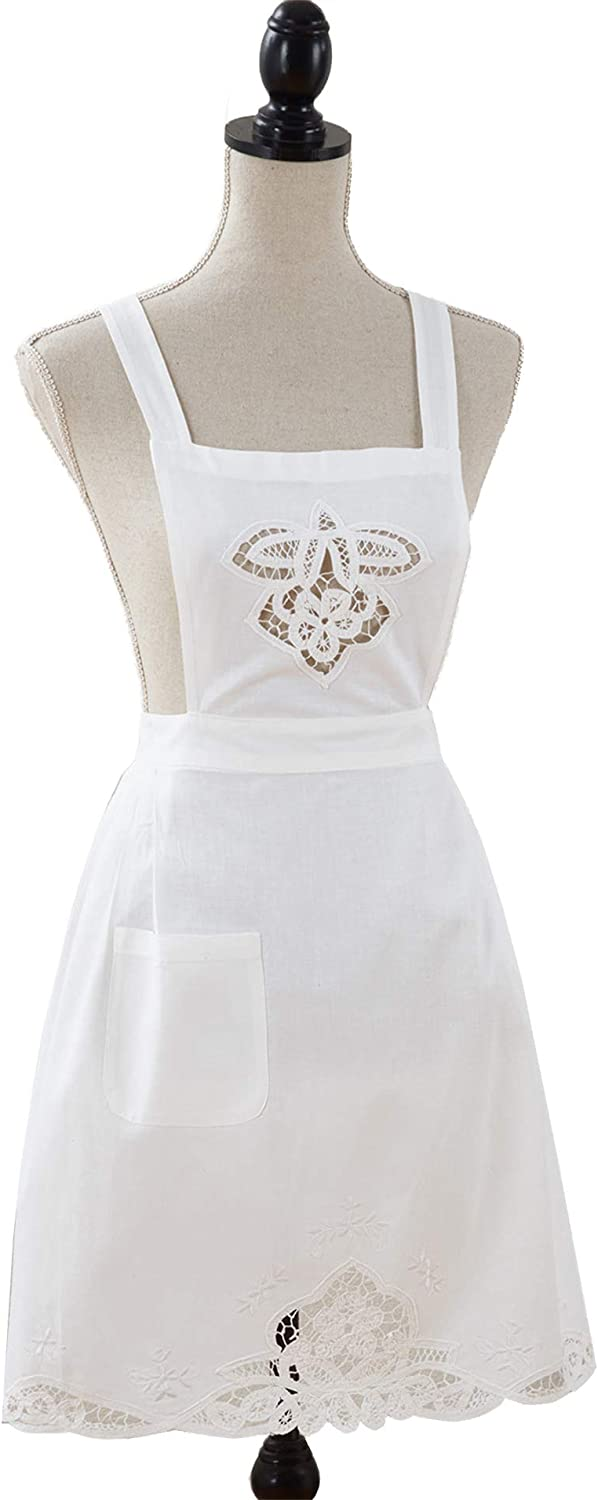 Hand Embroidered and Battenberg Lace Embellished Full Size Cuisine Apron, White