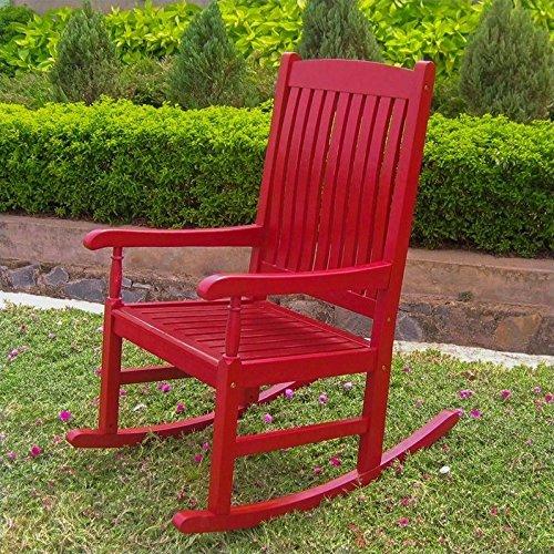 International Caravan VF-4108-Red-IC Furniture Piece Outdoor Wood Porch Rocker, Black, Blue