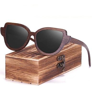 4300588154 Wood Frame Sunglasses Womens Skateboard Wayfarer Retro Handmade Polarized  Lenses Bamboo Mens Sunglasses - Black -