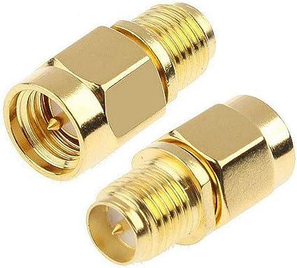 TengKo SMA Macho de Enchufe a RP-SMA Hembra RF Conector Recto Adaptador de Placas de Oro para Wi-Fi Antena Repetidores Cable de Extensión de Señal de ...