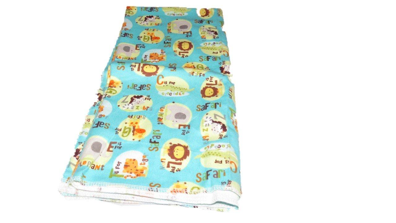 Teal Jungle Animals Flannel Receiving Blanket 30x30