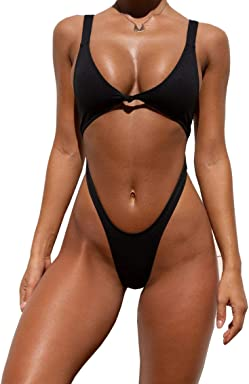 fe906d25ae470 YAUASOPA Women's Sexy V Neck Tie Front Cutout High Cut One Piece Swimsuit  Bathing Suit. YAUASOPA Women's 2 Pieces Push Up ...