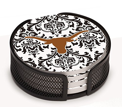 Thirstystone VUTX3-HA17 Stoneware Drink Coaster Set with Holder, University of Texas (Texas Longhorns Pattern)