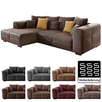 Cavadore Ecksofa Mavericco Polster Eck Couch Mit Kissen In Antik Leder Optik Mit Nussbaumfarbenen Holzfussen Longchair Links Grosse 285 X