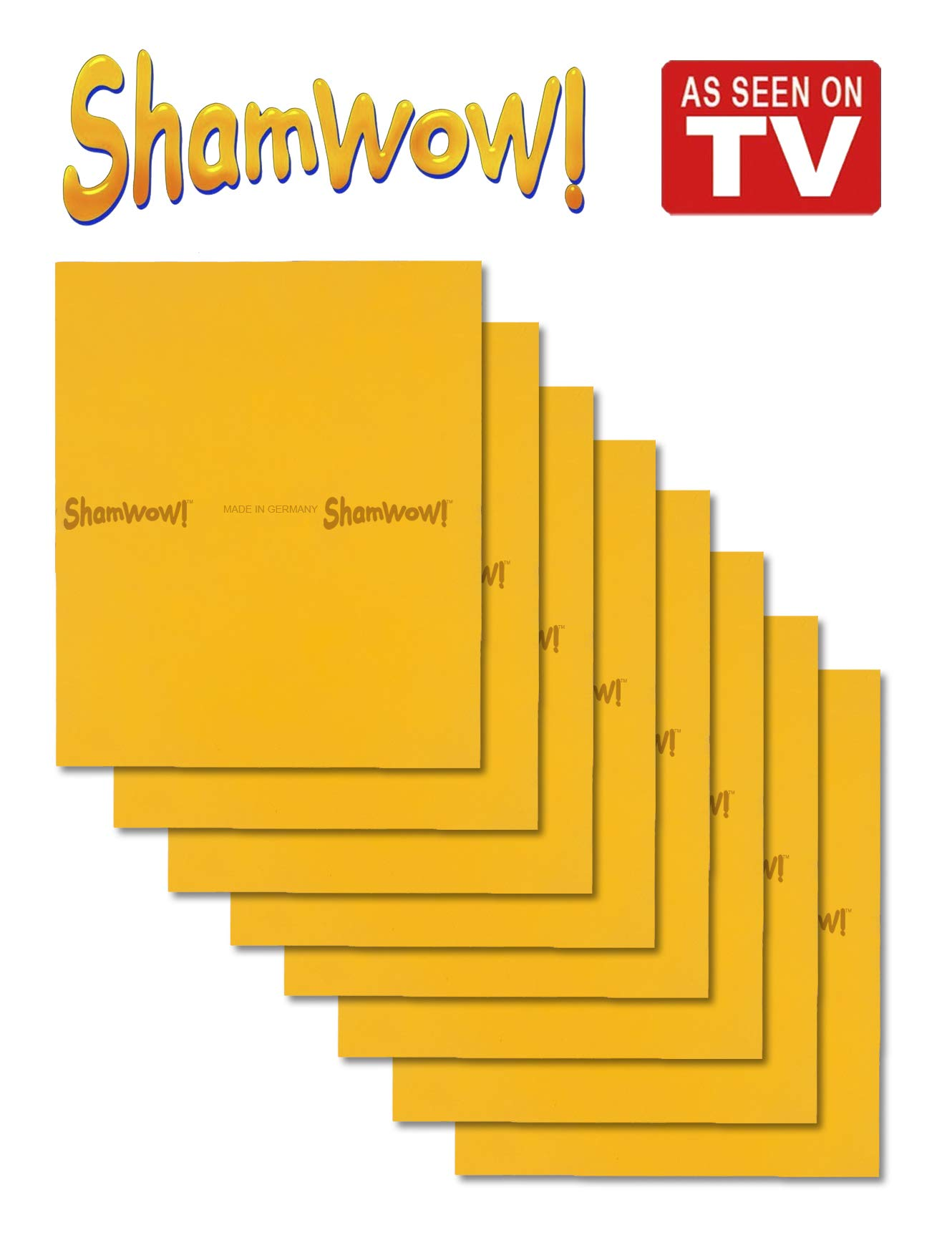 ShamWow The Original Super Absorbent Multi-Purpose Cleaning Shammy (Chamois) Towel Cloth, Machine Washable, Will Not Scratch, Orange (8 Pack)