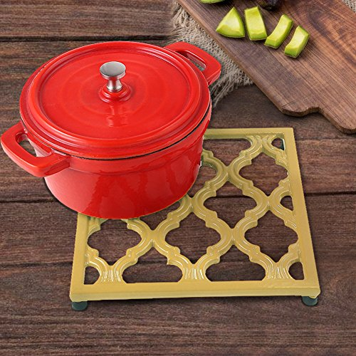 Square Cast Iron Trivet Yellow Cream Metal Trivets for Kitchen Dining