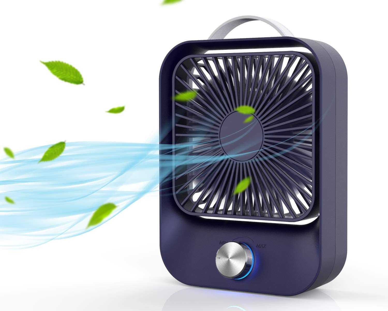 USB Desk Fan Rechargeable Personal Fan with Stepless Speed Control,45°Rotation Air Circulator for Office,Camping,Indoor or Outdoor