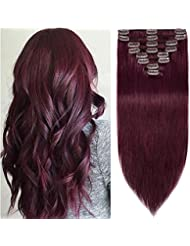 Amazon red hair extensions extensions wigs accessories 18 inch 100g clip in remy human hair extensions full pmusecretfo Image collections