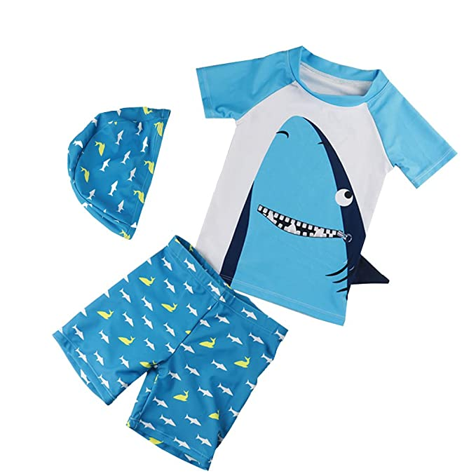 02122374d6 Baby Boy Swimsuit Set Sun Protection Rash Guards Toddler Two Pieces  Swimwear Kids Surf Bathing Suit