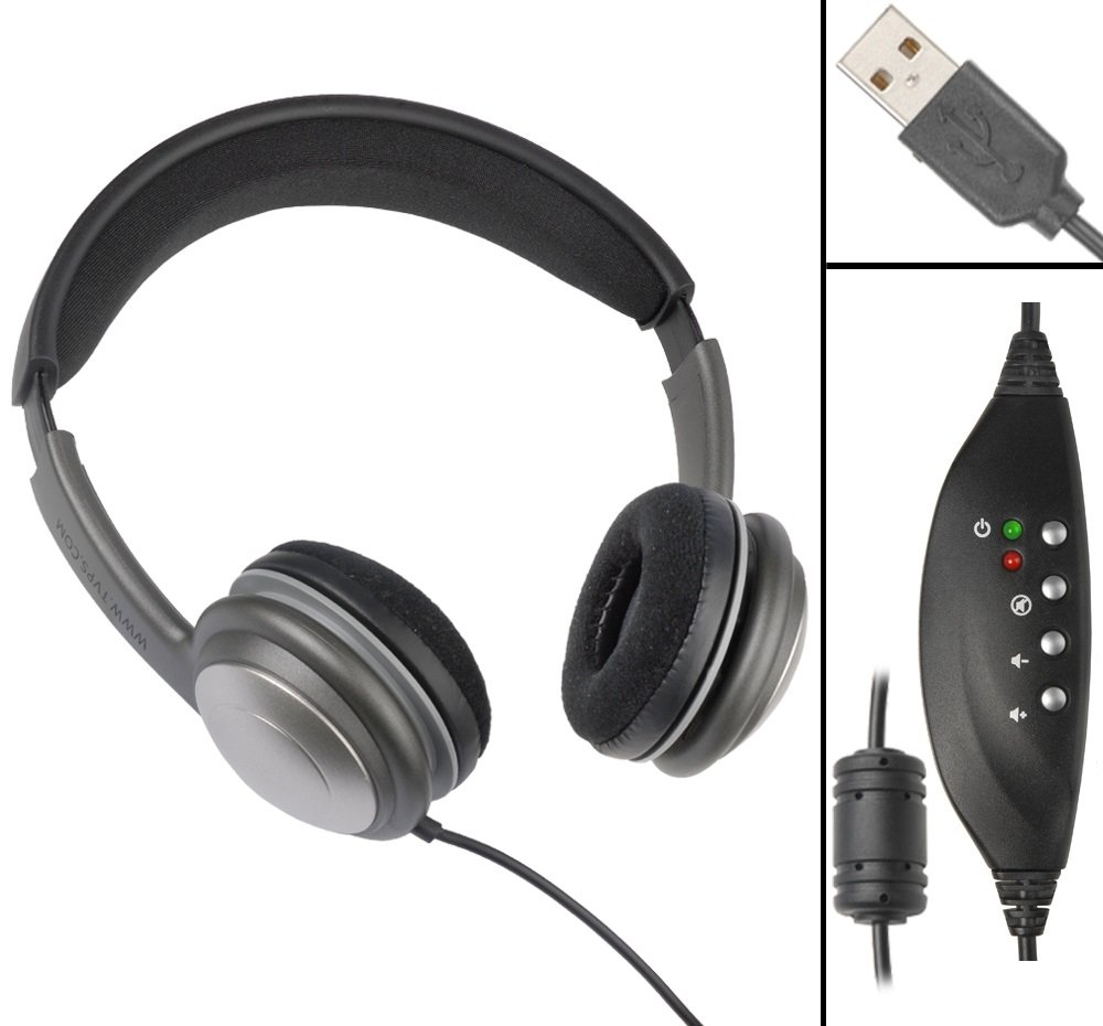 ECS OHUSB WordSlinger Deluxe Overhead USB Transcription Headset Executive Communication Systems FBA_OHUSB