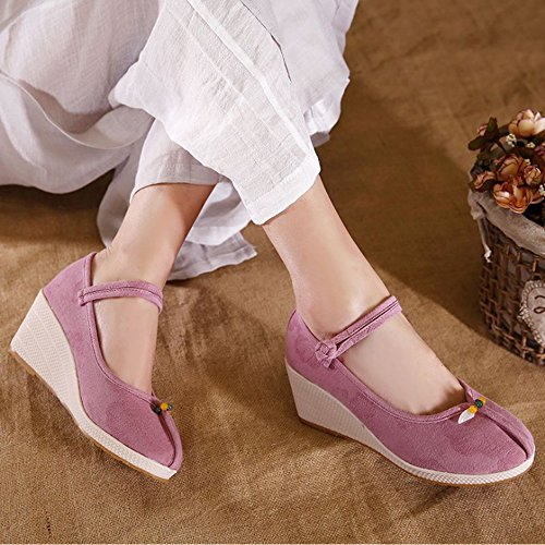 Y&Mai Ethnic Linen Breathable Espadrille Wedge Heel Sandals Women Pink VvA2FM2n