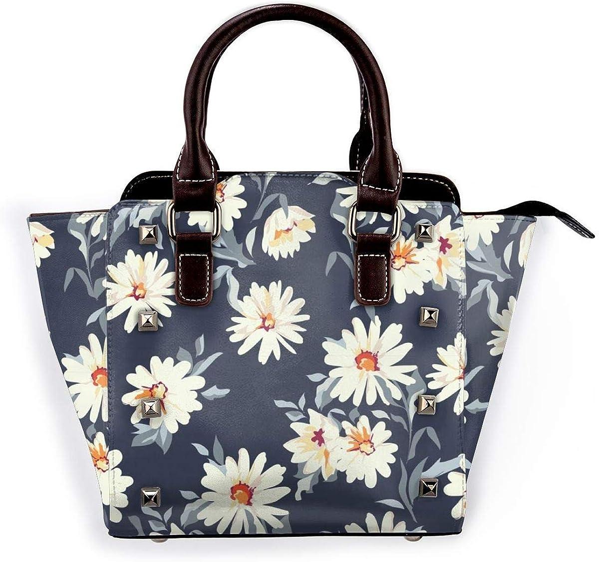 Blue Roses - Bolso de hombro para mujer, de piel auténtica, con remaches Flores Blancas
