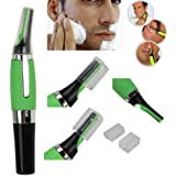 QERINKLE® Cordless Nose Hair Trimmer,Electronic Stainless Steel Nose Ear Eyebrow Side burn and Beard Hair Clipper with LED Light for Men & Women-Green