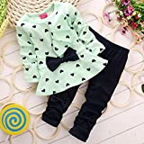 Kiminana girl clothes,New Baby Sets Heart-shaped Print Bow Cute 2PCS Kids Set T shirt + Pants(US Stock)