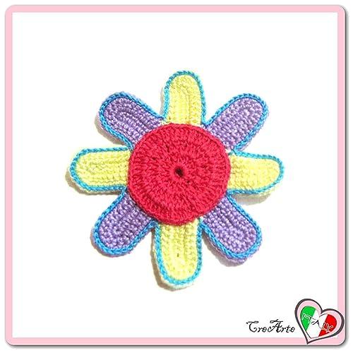 Flor fucsia amarilla y lila para aplicaciones, broche o imán ...