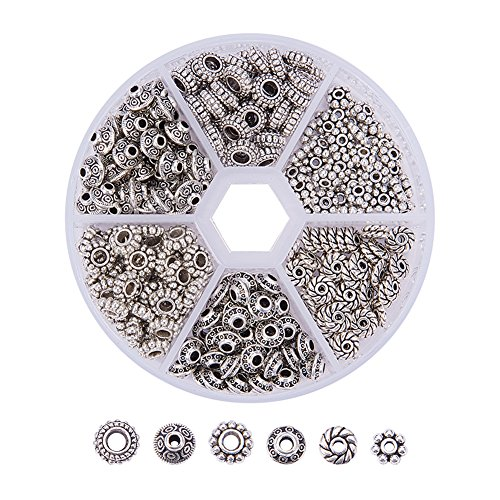 Pandahall Elite1 Box 300 PCS 6 Style Tibetan Silver Spacer Beads Jewelry Findings Accessories for Bracelet Necklace Jewelry Making