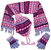 N'Ice Caps Big Girls Sherpa Lined Knitted 3 PC Set with Designs