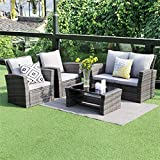 5 piece Outdoor Patio Furniture Sets,Wisteria Lane Wicker Ratten Sectional Sofa With Seat