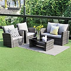 The Wisteria lane 5 Piece Cushioned Outdoor Patio Furniture Set, which in modern designs, are constructed from high-quality materials. It's a beautiful landscape in your patio and a comfortable place to enjoy your leisure time. Wisteria lane ...