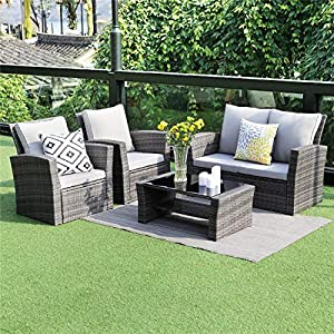 picture of Wisteria Lane 5 Piece Outdoor Patio Furniture Sets, Wicker Ratten Sectional Sofa with Seat Cushions,Gray