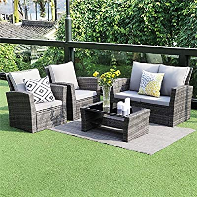 Wisteria Lane 5 Piece Outdoor Patio Furniture Sets, Wicker Ratten Sectional Sofa with Seat Cushions,Gray - HANDWORK MATERIAL - Constructed from strong galvanized steel frame and commercial grade hand woven weather-resistant PE rattan won't rust or fade.It's a handsome décor to your patio, garden, park, or yard UPGRADED COMFORT - This contemporary outdoor sectional sofa comes with thick lofty sponge padded water resistant cushions, wide and deep chairs will provide enough room to seat comfortably EASY CLEANING - Weather-resistant wicker, tempered glass, and padded cushions with removable covers allow for easy cleaning and maintenance - patio-furniture, patio, conversation-sets - 61PTaMPVXdL. SS400  -