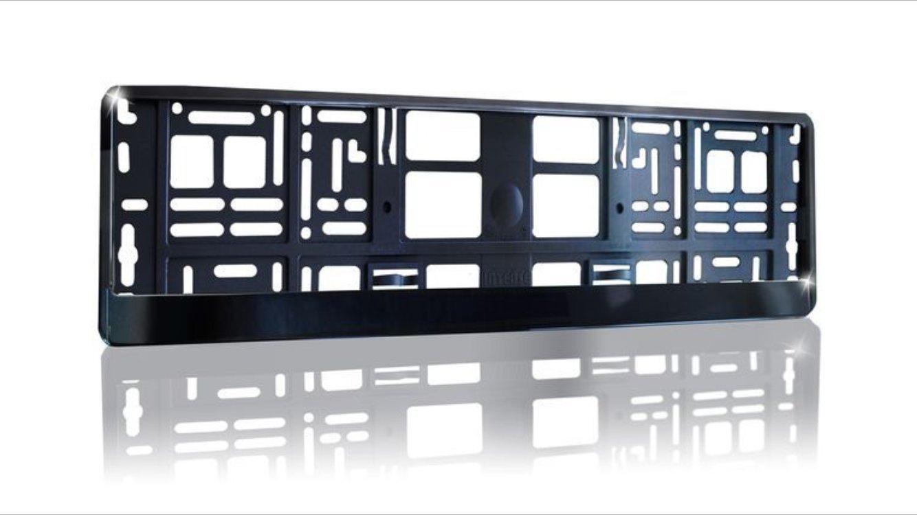 2 x black Brilliant PKW Kennzeichenhalter (schwarz HOCHGLANZ ...