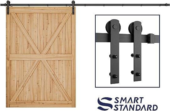 Holes Distance 16 inch 6.6FT Heavy Duty Sturdy Sliding Barn Door Hardware Kit for Single Door J Shape Hanger