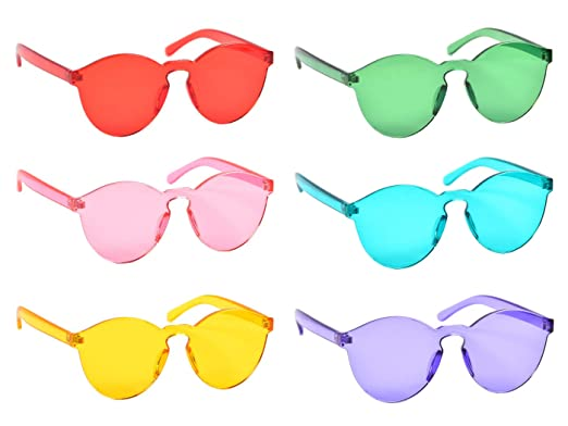 9a1e07bb3179 One Piece Rimless Sunglasses Transparent Candy Color Tinted Eyewear, 6 Pack