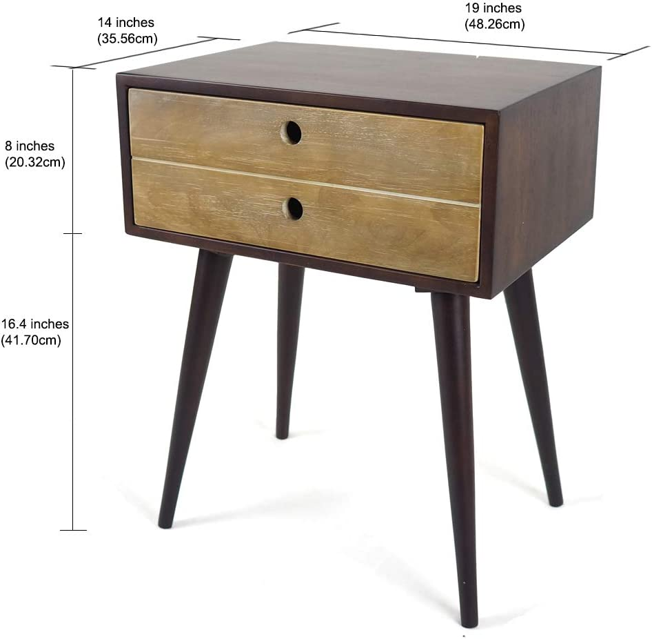 Rubber Wood,MDF//Veneer Penguin Home Elegant X Leg Choc Brown Side Table W19 H 23 D15 38x48x58