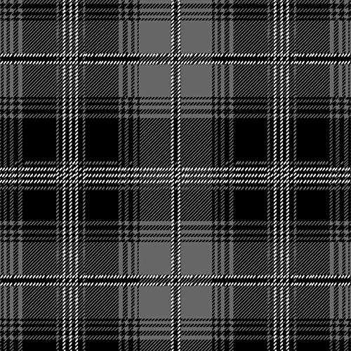 Tartan Plaid Black & Gray Fleece Fabric - 60