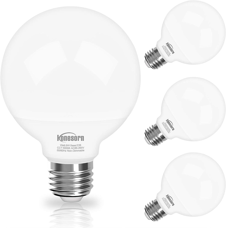 G25 Globe Led Bulbs 5000k Daylight Vanity Light Bulb For Bathroom Vanity Mirror Honesorn Bathroom Light Bulbs 5w 60 Watt Equivalent Light Bulbs 500lm E26 Medium Base Non Dimmable 4 Pack Amazon Com