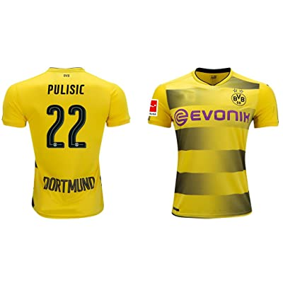 Eds Sports Christian Pulisic #22 Men's Borussia Dortmund 2017/2018 Home Yellow Jersey