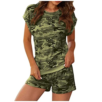 Xinantime Womens Camouflage Set Casual Round Neck Short Sleeve Blouse and Shorts Loose Pants: Clothing