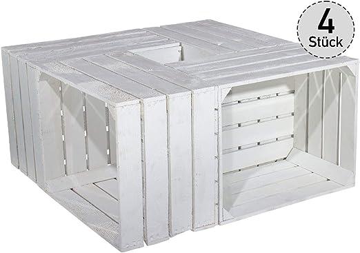 Vintage-Möbel24 GmbH Juego de 4 Blanco Caja para Zapatos estantería/Estante – Shabby Chic Fruta (Caja de Madera Vino Cofre Caja Caja Armario Perchero de Madera, 50 x 40 x 30 cm: Amazon.es: